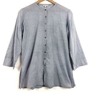 Eileen Fisher Petite Blue Striped Button-Up Tunic